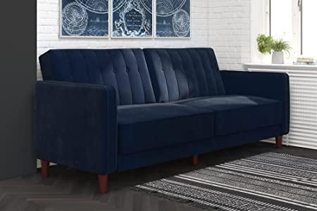 Dhp Dz41104 Ivana Tufted Futon, Blue Velvet by Dhp