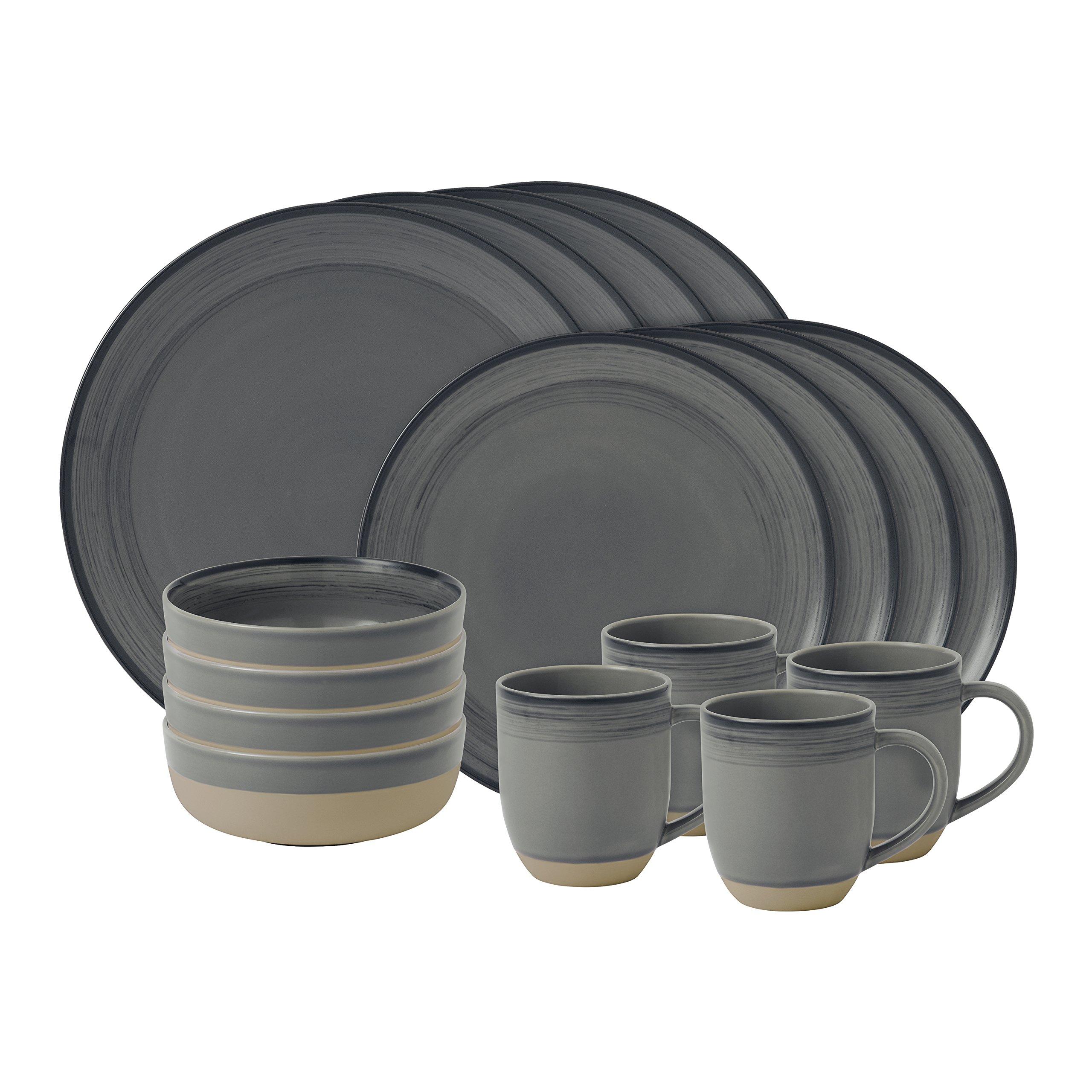 Ellen DeGeneres Brushed Glaze Charcoal Grey 16pc Set