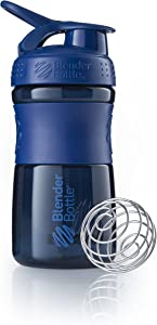 BlenderBottle SportMixer Tritan Grip Shaker Bottle, Navy/Navy, 20-Ounce