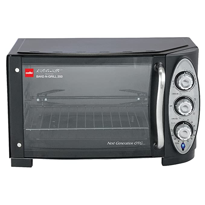 Cello Bake N Grill 200 1500-Watt Oven Toaster Griller (Stainless steel Black) Oven Toaster Grills at amazon