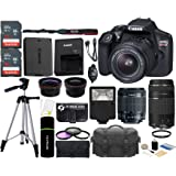 Canon EOS Rebel T6 18MP Wi-Fi SLR Digital Camera + 18-55mm IS II Lens + EF 75-300mm III Lens + SanDisk 32GB & 16GB Card + Wide Angle + Telephoto Lens + Flash + Grip + Tripod - 48GB Accessories Bundle