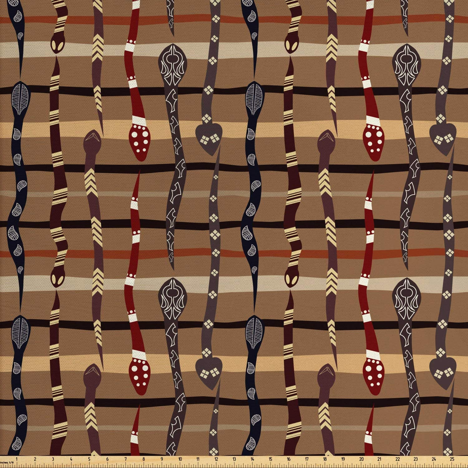 Ambesonne Tribal Fabric by The Yard, Wildlife Prehistoric Funky Snakes Traditional Oriental Arrangement, Decorative Fabric for Upholstery and Home Accents, 3 Yards, Brown Ruby