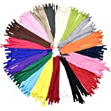 Mandala Crafts Nylon Invisible Zipper for Sewing, Pillows, Bags, Clothing, Cushions (20 Assorted Colors, 5 Inches 100…