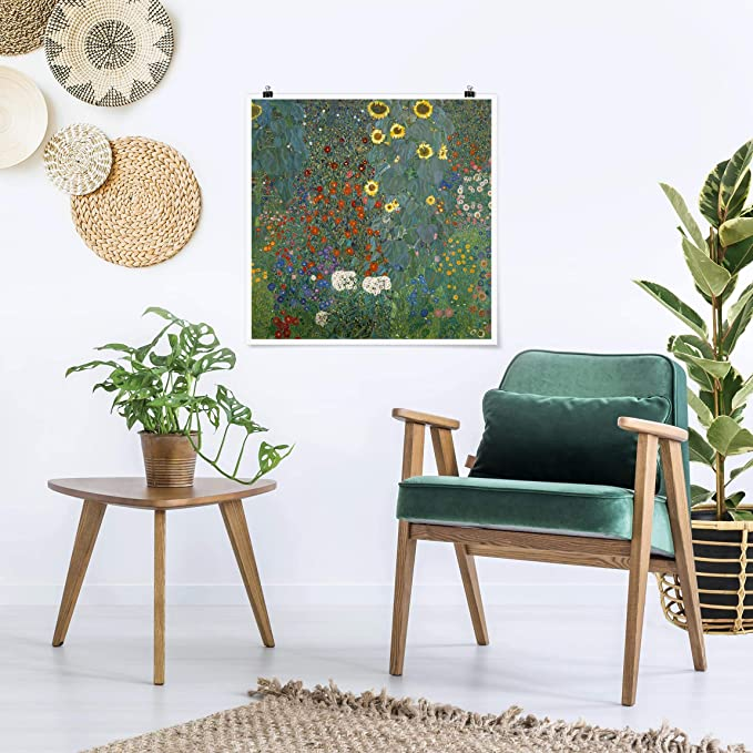 Garten Sonnenblumen Quadrat Bilderwelten Poster Gustav Klimt Gl/änzend 30 x 30cm