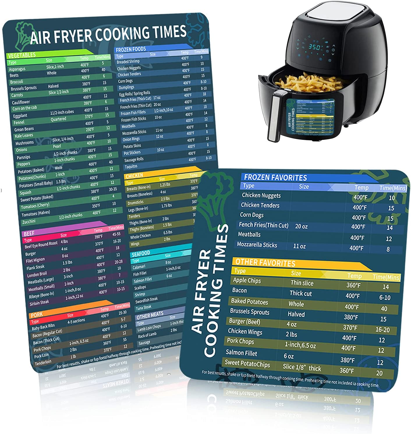 Air Fryer Magnetic Cheat Sheet Set, Air Fryer Accessories included Big Magnet and Small Magnet Cooking Times Chart, Air fryer Magnet Sheet Quick Reference Guide for Cooking and Frying (2 Pack)