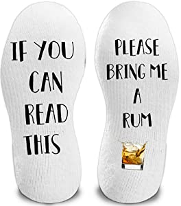 If You Can Read This Bring Me A Rum Funny Novelty Funky Crew Socks Men Women Christmas Gifts Slipper Socks