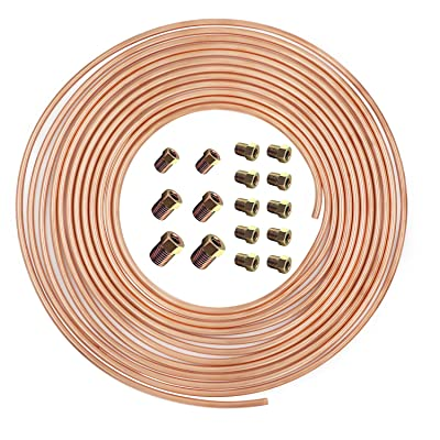 25 ft 3/16 in Copper-Nickel Coil Brake Line Complete Replacement Brake or Fuel Tubing Kit (Includes 16 Fittings), Easy to hand bend (.028) Wall Thickness, Rust Proof: Automotive