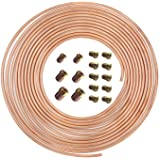 25 Ft. of 3/16 in Brake Line Flexible, Easy to Bend Replacement Tubing Kit (Includes 16 Fittings) -Inverted Flare, SAE…