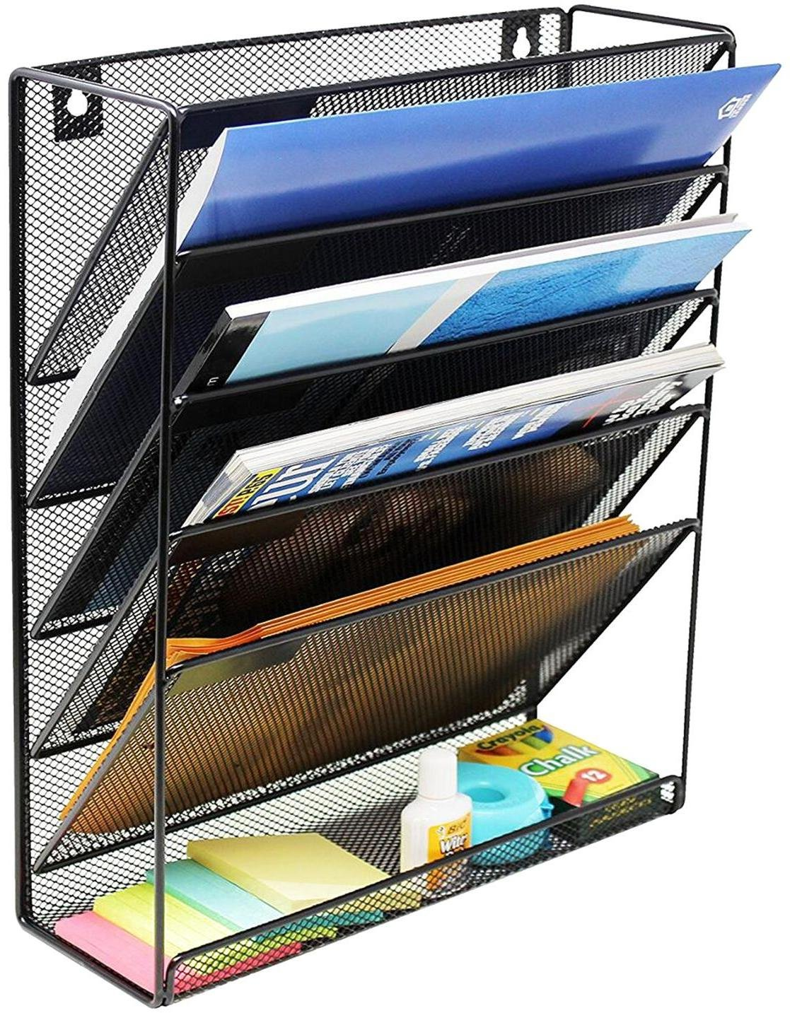 Wall Hanging File Holder Organizer for Office Home, 5-Tier Black Metal- Yuugen Products