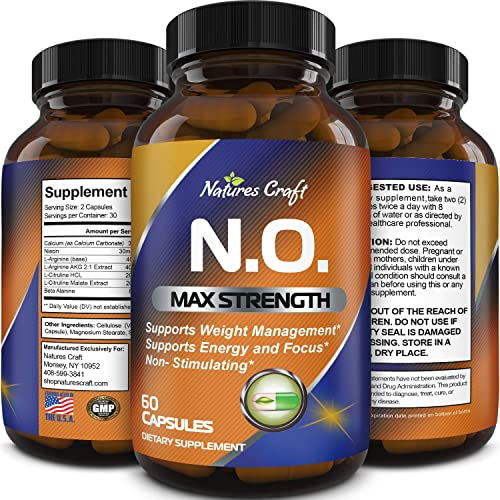 Nitric Oxide Booster Complex with L-Arginine L-Citrulline Amplifier for Increased Endurance Powerful Antioxidant Weight Loss Support Vitamin for Men Women Teens
