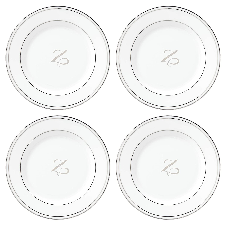 Z 872313 Lenox Federal Platinum Script Monogram Dinnerware Tidbit Plates Set of 4