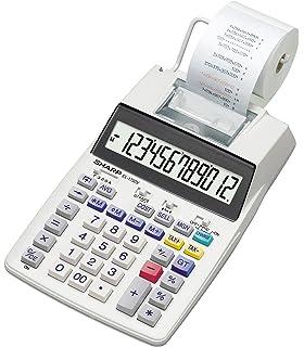 Sharp EL-1611 V Druckender Mini-Tischrechner 12-stelliges LCD Display, Kleine Papierrolle wei/ß