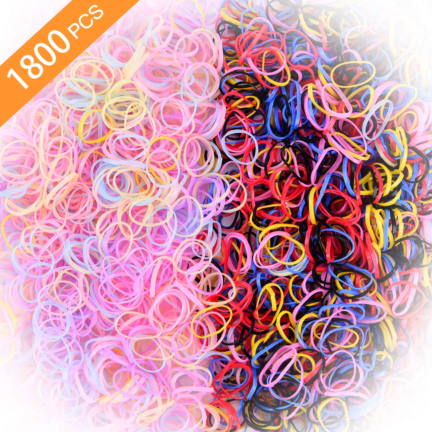 Toddlers Hair Ties for Kids Girls Baby Elastic Mini Hair Bands 1800pcs No Damage Hair Rubber Bands Multi Candy&Deep Color Hair Holder