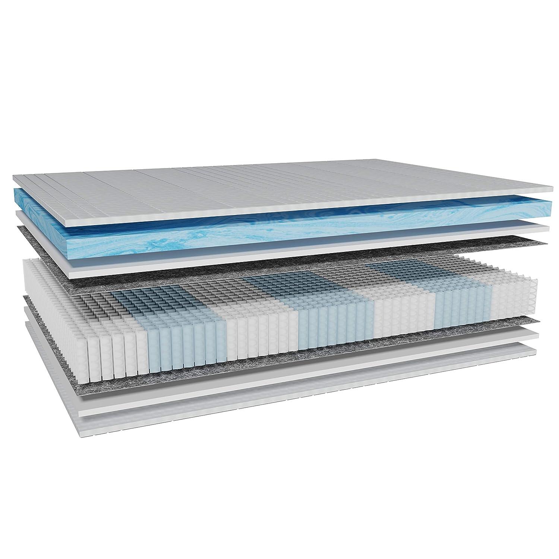 AM Qualitätsmatratzen - Premium Gelschaum-Matratze 200x200cm H3-1000 Federn - Taschenfederkernmatratze Gelschaum 200 x 200-6 cm Gelschaum-Auflage - 24cm Höhe - Made in Germany