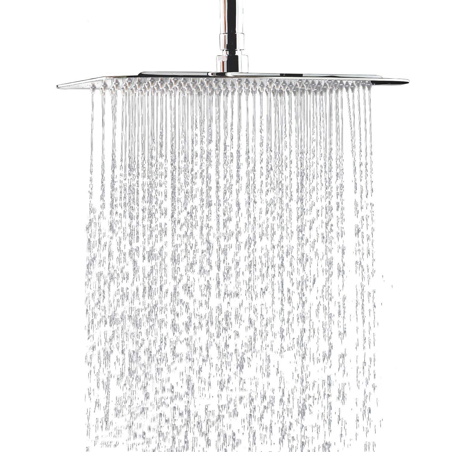 12'' Square Rain Showerhead with 11'' Adjustable Extension Arm, Large Stainless Steel High Pressure Shower Head,Ultra Thin Rainfall Bath Shower with Silicone Nozzle Easy to Clean and Install MeSun