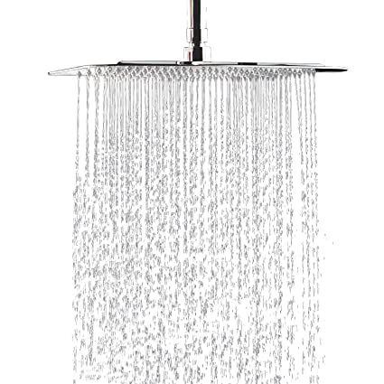 6 Inch Stainless Steel Ultra-thin Waterfall Shower Heads Square High Pressure Rainfall Shower Head Rain Showerheads Shower Equipment silver Shower Heads