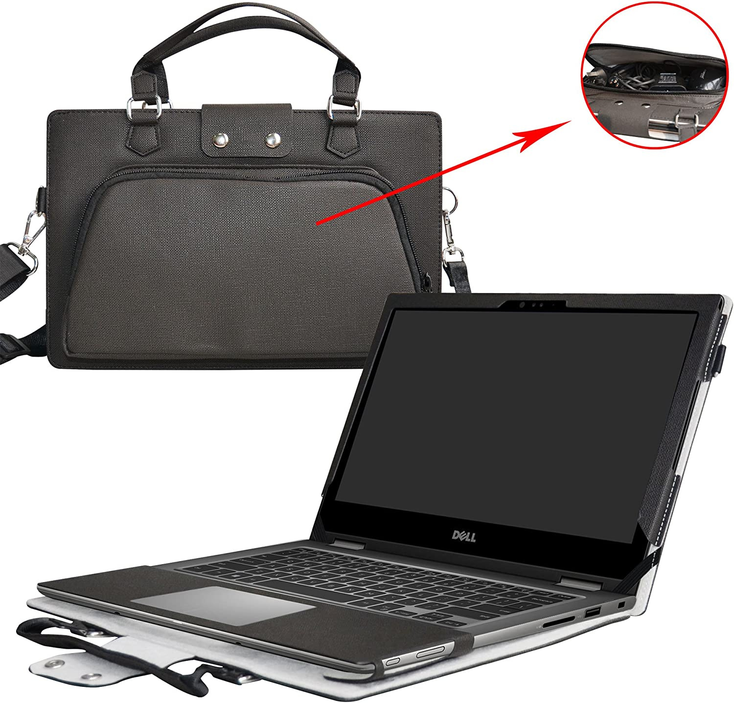 """Inspiron 13 2-in-1 i7378 i7375 i7368 Case,2 in 1 Accurately Designed Protective PU Leather Cover + Portable Carrying Bag for 13.3"""" Dell Inspiron 13 2-in-1 7000 Series 7378 7375 7368 Laptop,Black"""