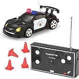 Joyin Toy RC Remote Radio Control Mini Micro Racing Police Car Pocket Race Car Toy with LED Light and Siren Sound