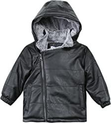 74030d2a4 3 Pommes Black Leather Puffer with Fur Lining