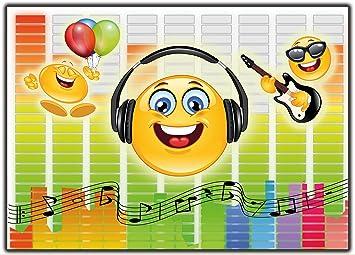Einladungskarte Smiley Emoji Musik Im Set Einladung Kindergeburtstag  Geburtstagseinladung Lustig Witzig 12 Stück Ausgefallen Luftballons Bunt