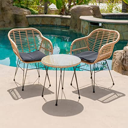Belleze 3-pieces Outdoor Patio Wicker Chair Bistro Set Cafe Coffee Table UV  Resistant w - Amazon.com : Belleze 3-pieces Outdoor Patio Wicker Chair Bistro Set