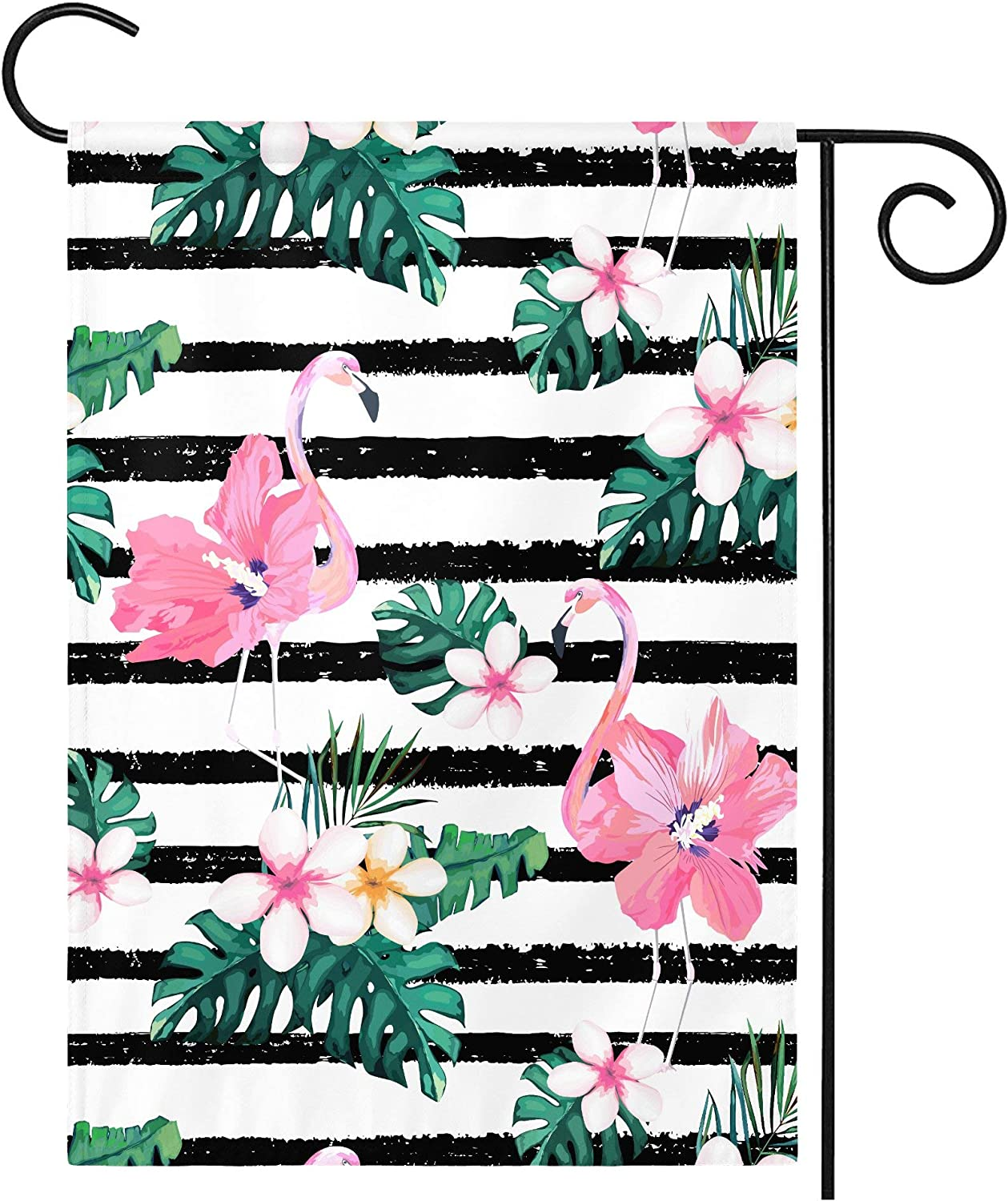 Garden Flag House Yard Watercolor tropical leaves flamingo Decorative Vertical Double Sided Weather Resistant Stitched Outdoor Flags Holiday Spring Outside Home Dog Cat Camper Lawn 12.5 x 18 inch
