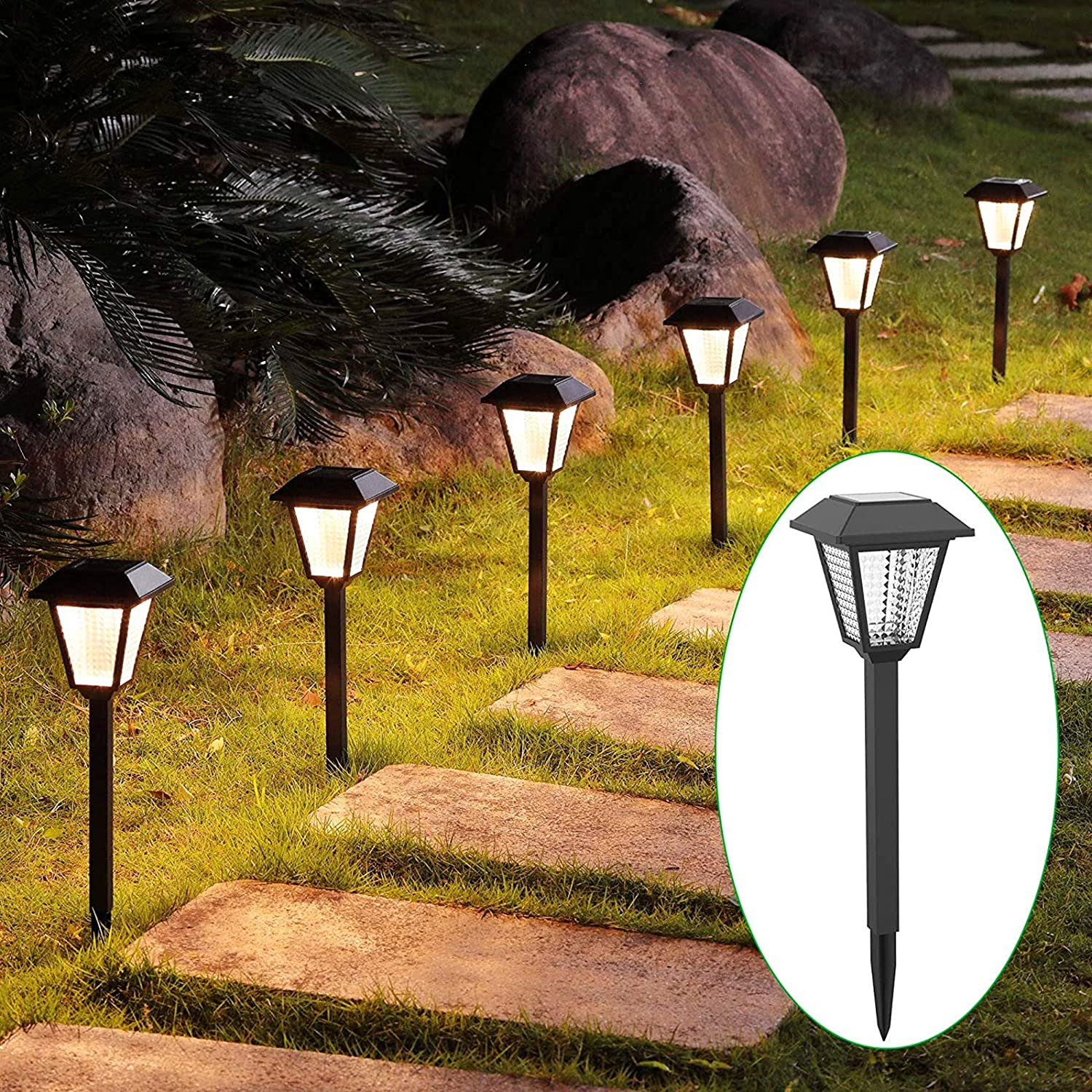 MAGGIFT 6 Pack High Lumen Solar Powered Pathway Lights, Outdoor Landscape Lights, Waterproof Light for Lawn, Patio, Yard, Garden, Walkway, Deck, Driveway, Warm White