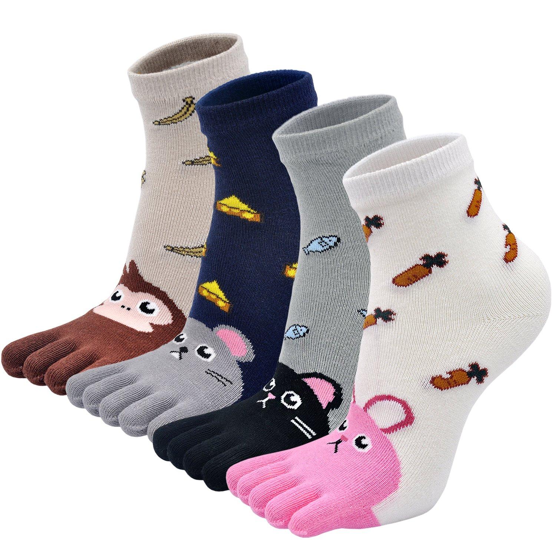 Kids Five Toe Socks Cute Cartoon Animal Anti-slip Cotton Five Fingers Socks (4 Pairs)