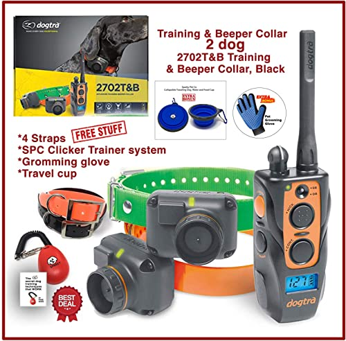 Dogtra 2702T B Two Dogs Remote Training and Beeper Collar – 1 Mile Range, Fully Waterproof, Rechargeable, Shock, Vibration – 2 Free REPLACMENT Straps and SPC Dog Training System