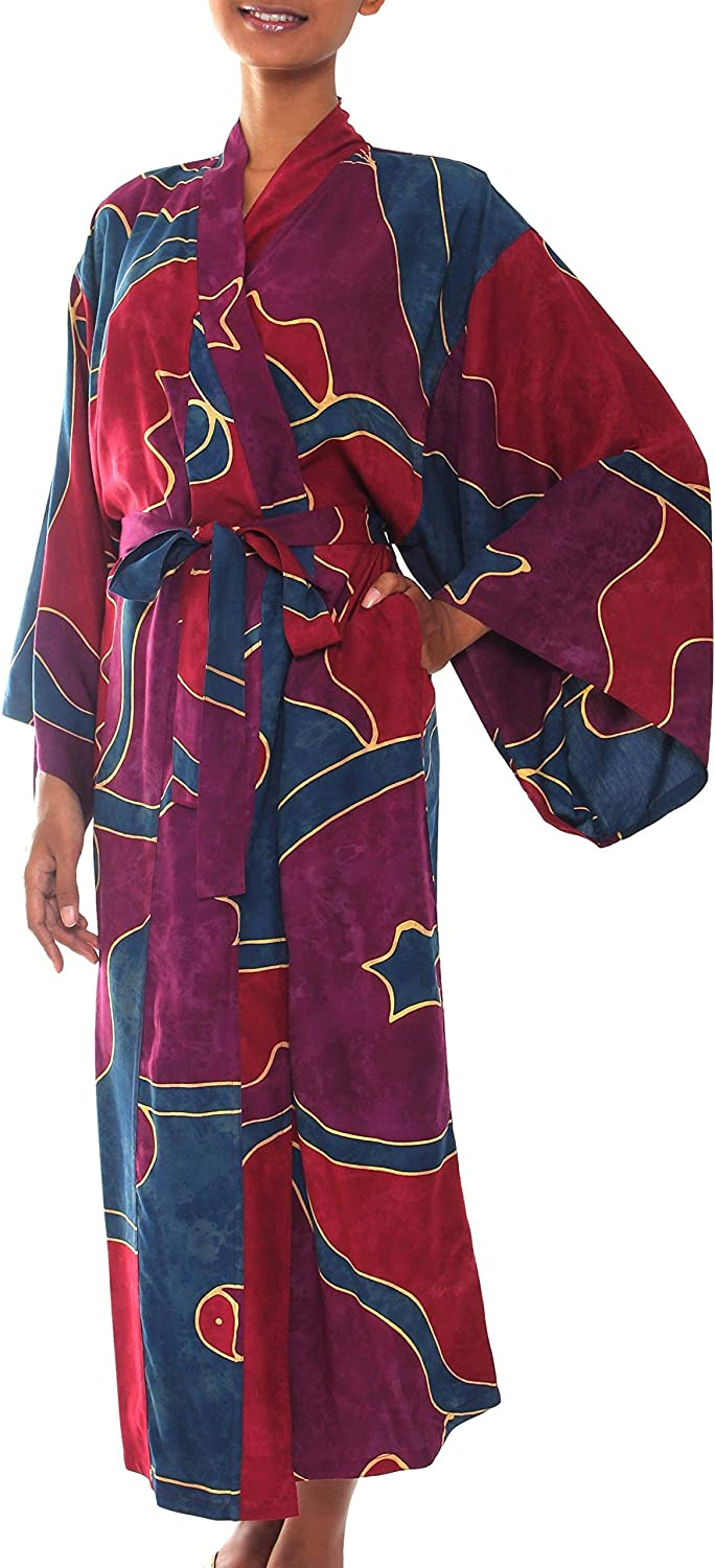 NOVICA Red and Purple Women's Batik Long Robe, Exotic Blue' (One Size Fits Most)