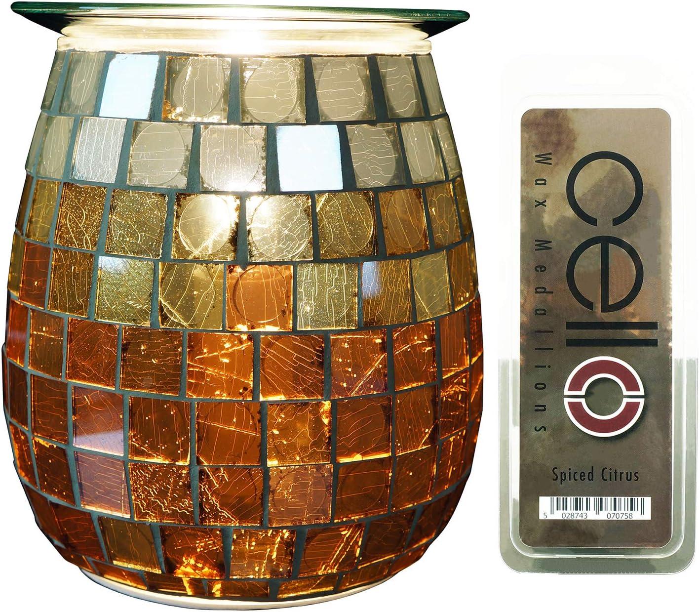 Cello Paquete de Violonchelo – Sunrise Quemador eléctrico de derretir + medallón de cítricos especiados – Seguro para Usar con Mascotas y niños