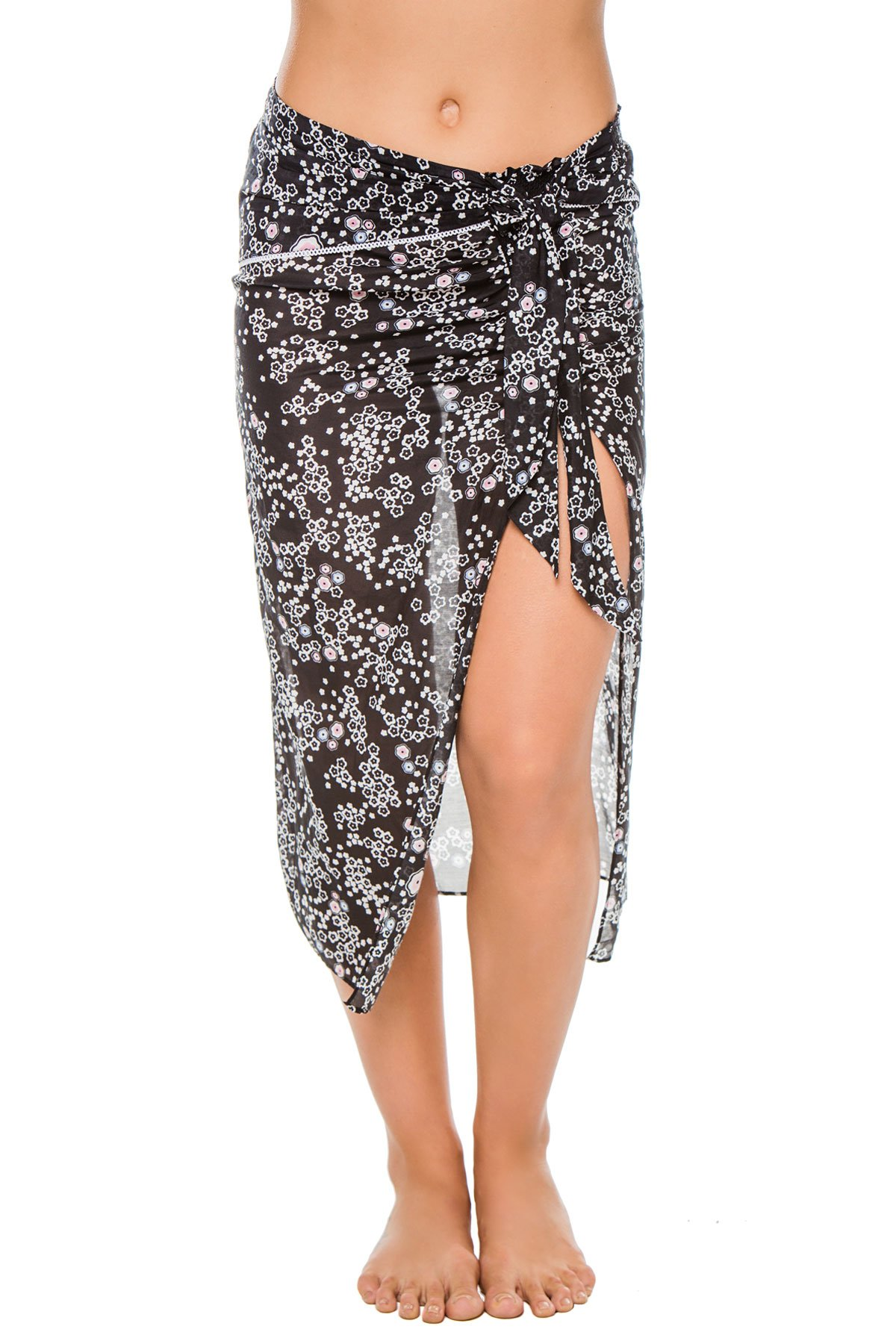 Kisuii Women's Black Floral Pareo Swim Cover Up Black Floral S by Kisuii