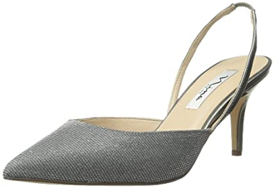 Nina Womens Terri Pointed Toe SlingBack Classic Gunmetal/Gunmetal Size 6.5