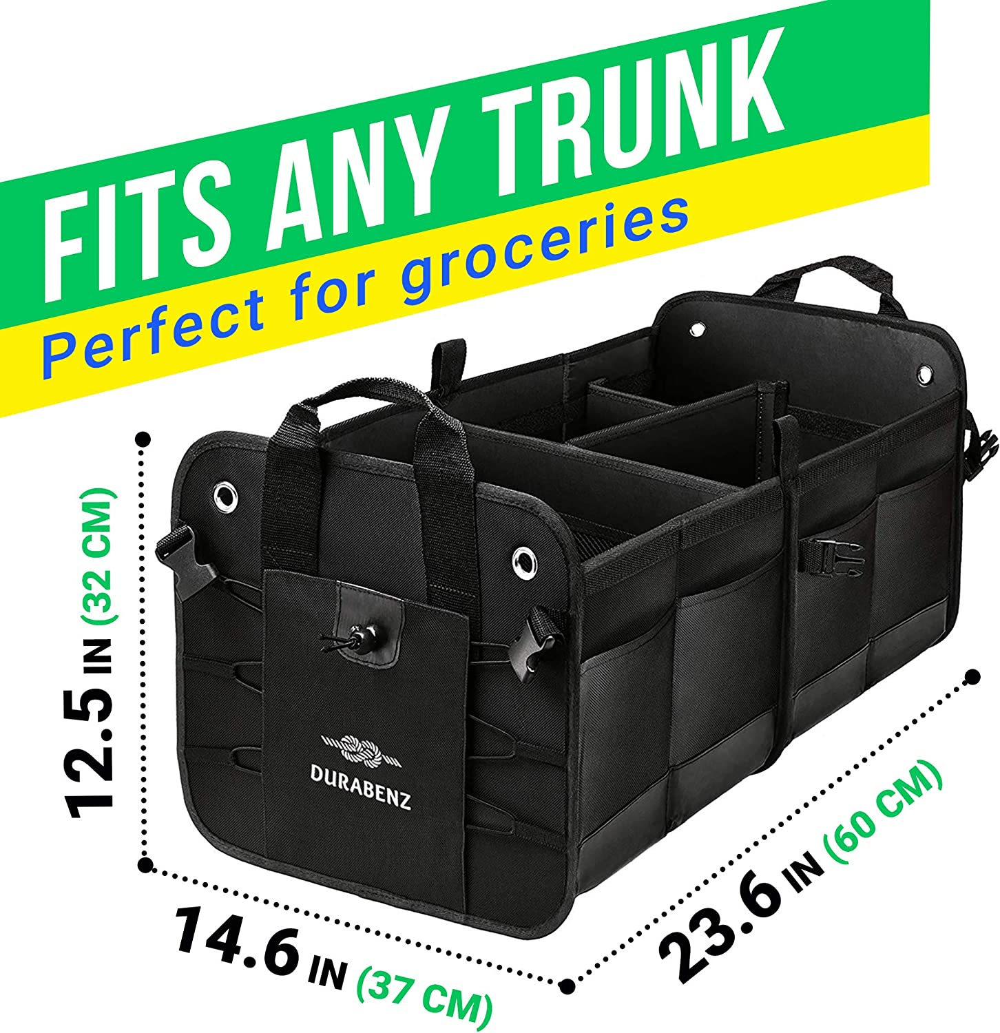 and Stainless Hooks Attachable Non-Slip Pads Military Green Durabenz Trunk Organizer with Covering Net