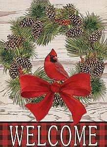 Covido Home Decorative Welcome Winter Garden Flag Christmas Buffalo Plaid Cardinal House Yard Pine Cone Wreath Decor Holiday Farmhouse Outside Decoration Seasonal Outdoor Small Flag Double Sided 12x18