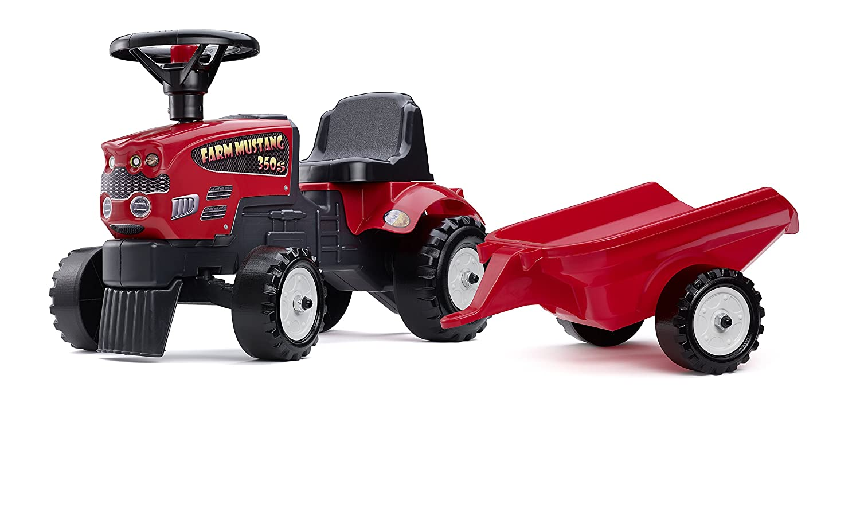 Falk 1080B - Tractor correpasillos con remolque, color rojo: Amazon ...