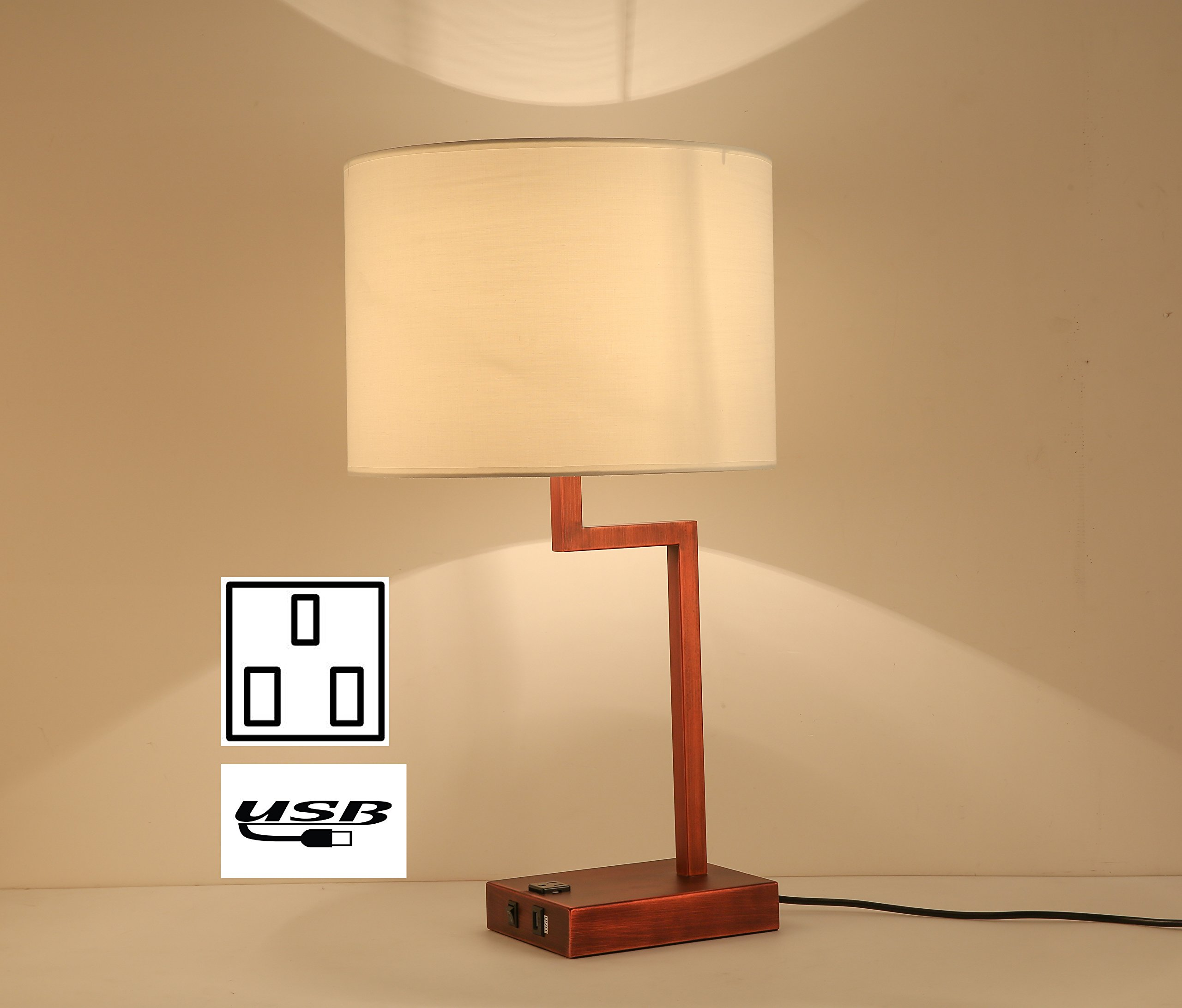lobolovelife lobo Bronze Desk lamps with electirc outlet and table lamp with USB set of 4