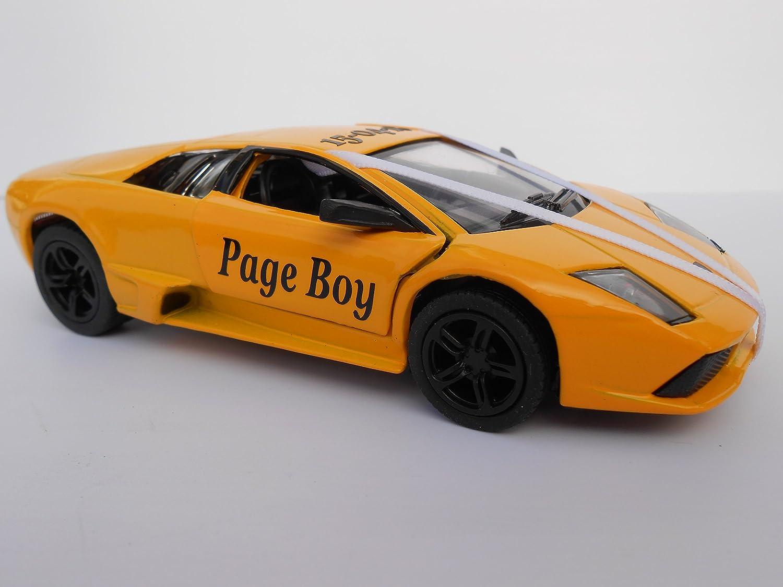 Lamborghini Yellow Personalised Page Boy Usher Best Man Bridesmaid Groom Gift Wedding car Pageboy Present NEW