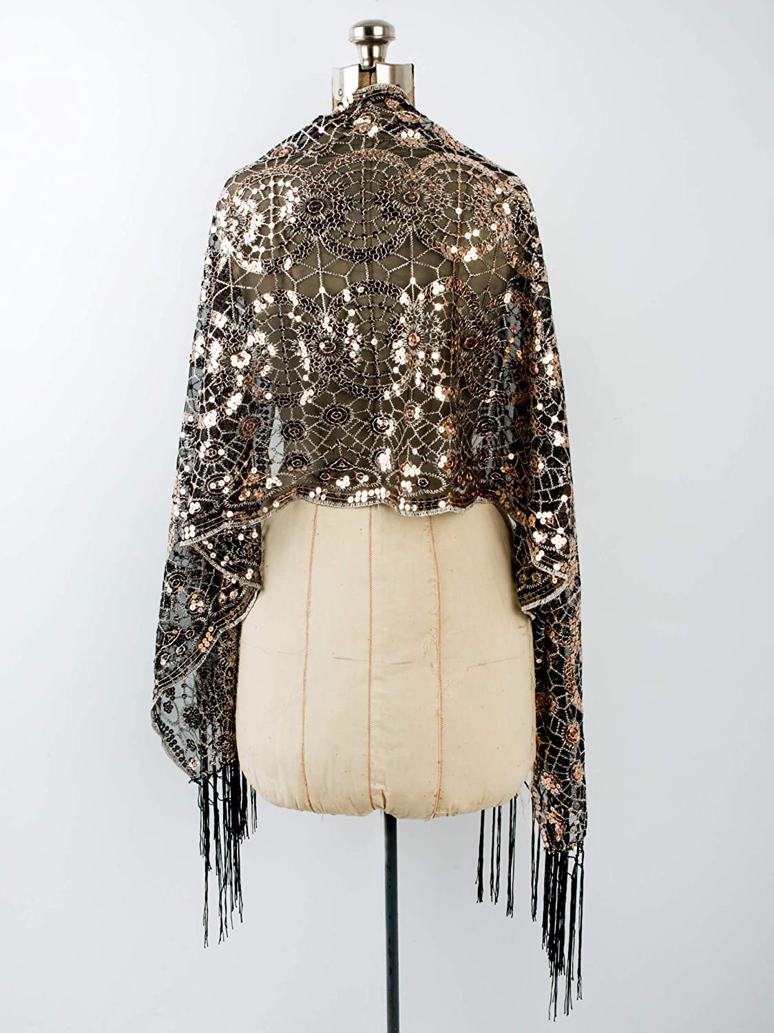 70s Jackets, Furs, Vests, Ponchos Bohomonde Vera Vintage Inspired Sequin Shawl Evening Wrap Embroidered Sequin Fringe Shawl or Scarf $18.95 AT vintagedancer.com