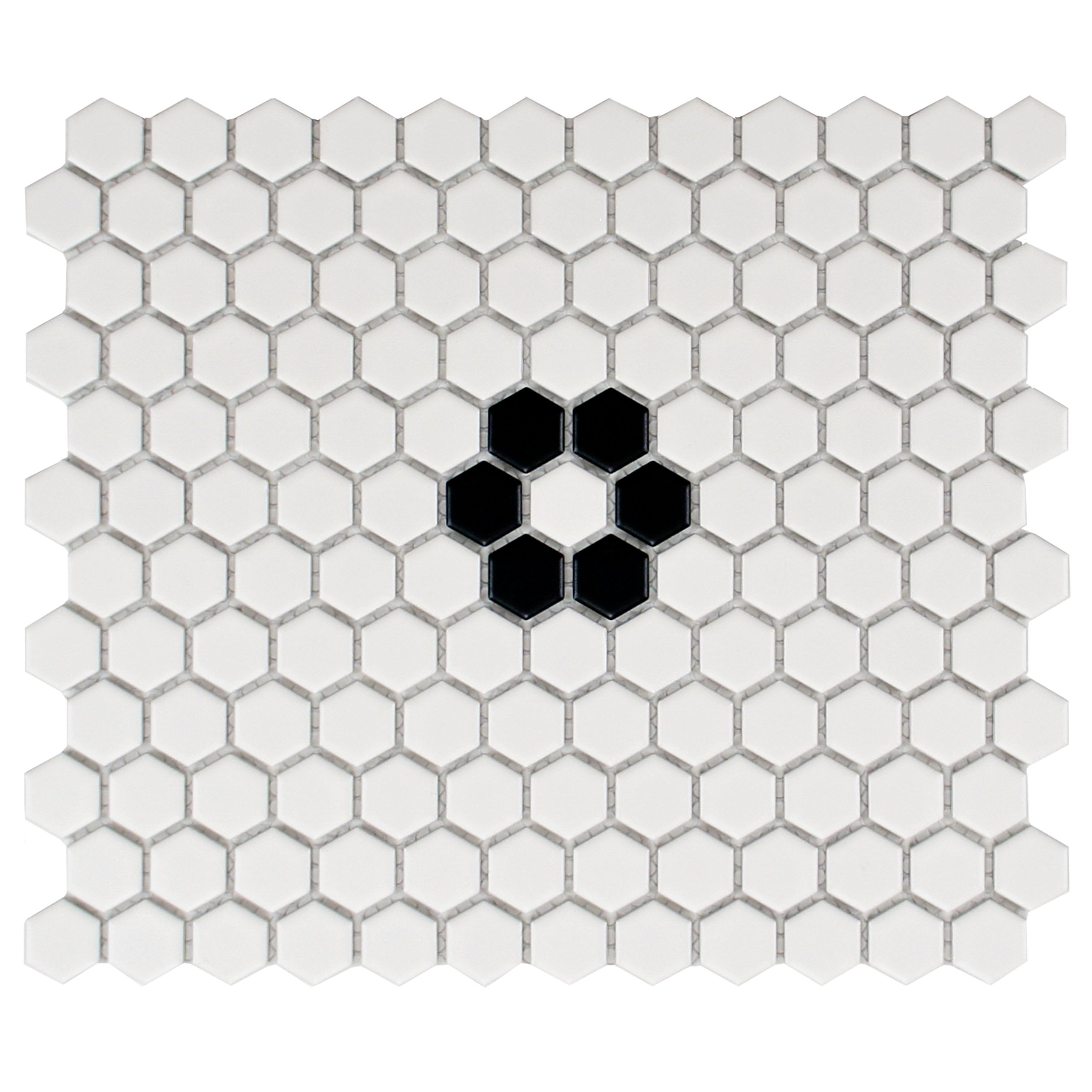 SomerTile FXLM1HMF Retro Hex with Flower Porcelain Floor and Wall Tile, 10.25'' x 11.75'', Matte White