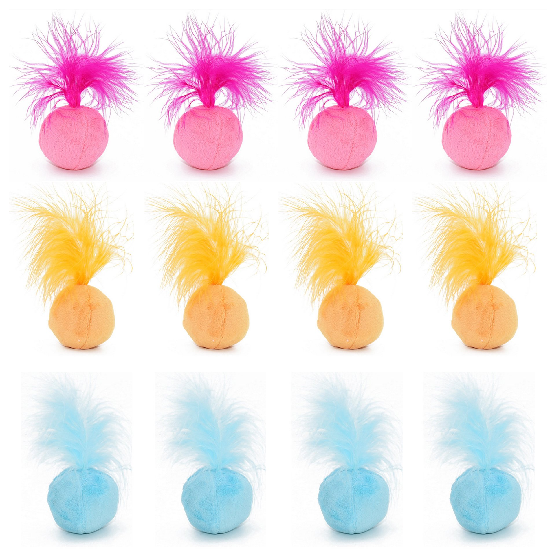 PetFavorites Furry Rattle Ball Cat Toy with Feather & Catnip - Best Interactive Pom Pom Balls for Cats, Soft/Lightweight/2 Inch, 12 Pack.