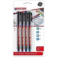 Edding ED147B499 Silgili Asetat Kalem 0.3mm 4'lü Karışık Siyah/Kırmızı/Mavi/Yeşil