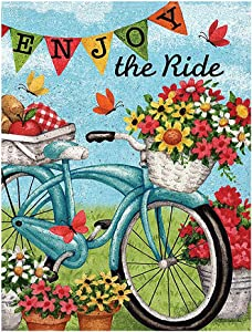 """ALAZA Welcome Flowers Bicycle Butterfly Daisy Summer Spring Double Sided Garden Yard Flag 12"""" x 18"""", Enjoy The Ride Bike Sunflower Flowers Basket Decorative Garden Flag Banner for Outdoor Home Decor"""