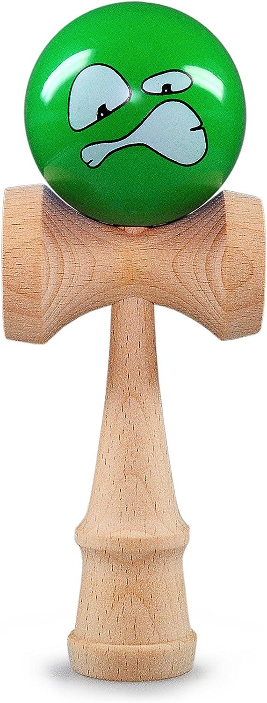 Ganzoo 'Kendama bola de madera de haya, aprox. 6cm de diámetro, Verde con cara Angry oberflächenlackiert, japonés tradicional Madera Bola de juguete, Juego, Juego de habilidad, marca