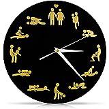 """VENKON - Kamasutra Sex Wanduhr """"Viel Sex nicht nur um Sechs"""" Erotische Uhr mit Sexstellungen - 30 cm - schwarz"""