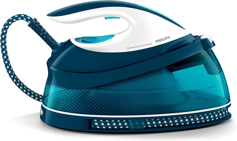 Philips GC7844/20 - Centro de planchado sin quemaduras ni necesidad de realizar ajustes de la temperatura, 6.5 bares, golpe de vapor 400 g, autoapagado, tamaño Compacto, suela especial, color azul