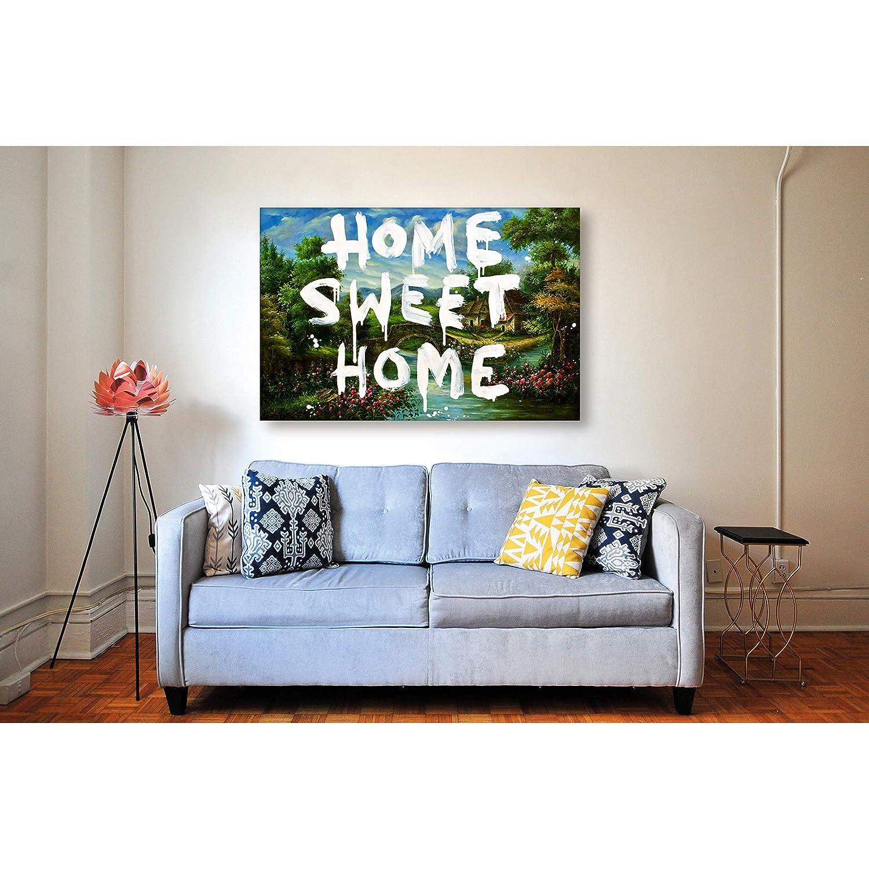 Kunstbruder Home Sweet Home Format Immagini da Parete per Soggiorno Banksy Citazioni Citazioni Stampa su Tela per la casa 2 cm Stampa su Tela//pronta da Appendere 30 x 40 cm