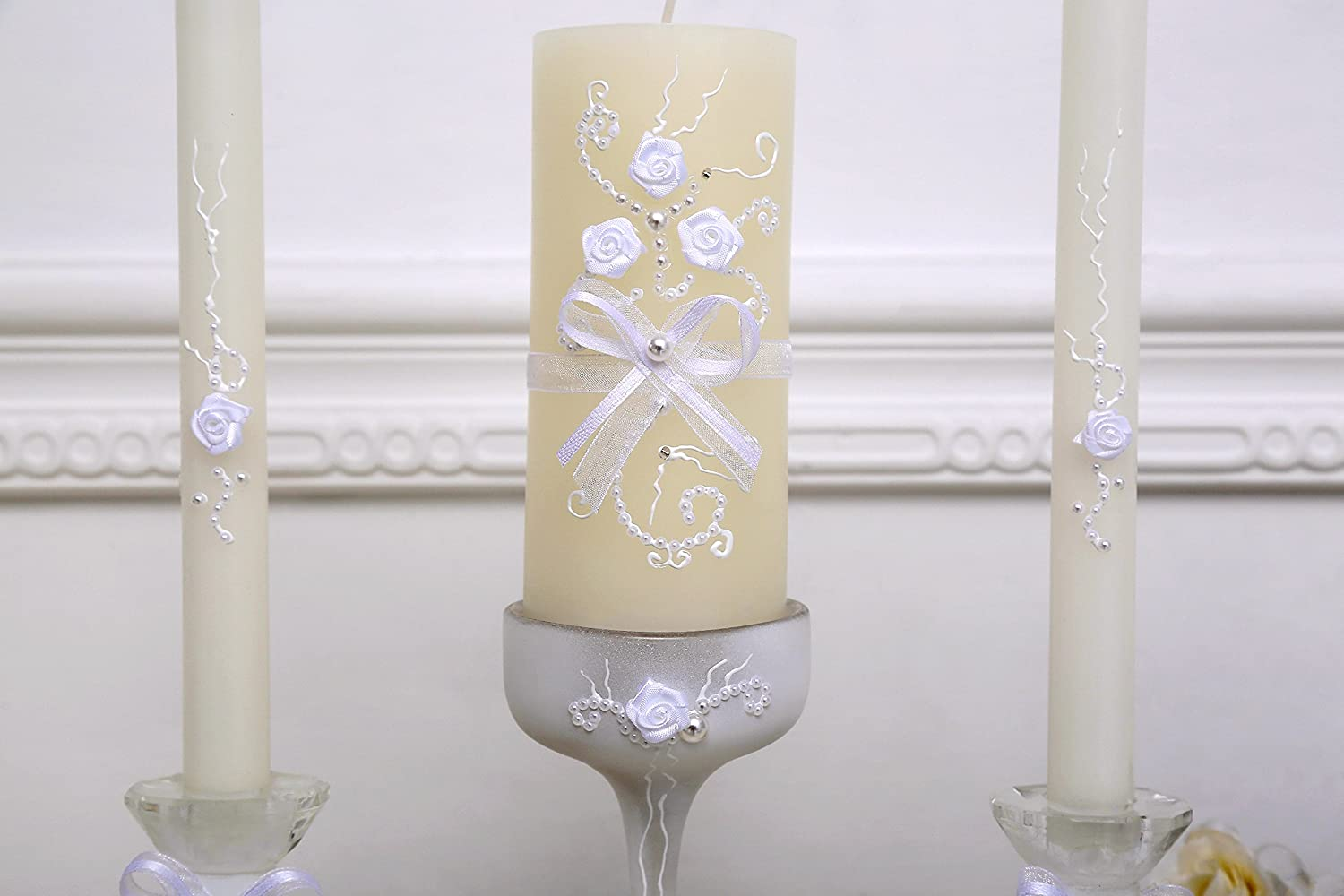 www.Beadingsupplys.com Rustic Chic wedding unity candle set - 3 candles and 3 glass candleholders with ribbon, lace and pearls decoration, vintage unity ceremony