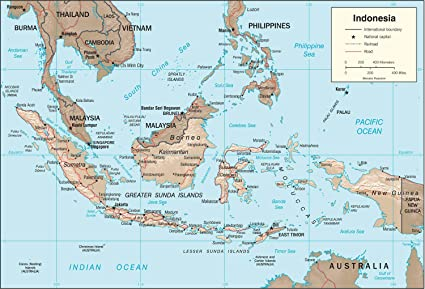 Indonesia Thailand Map.Amazon Com Map Poster Indonesia Physical Map 16 X24 Gloss