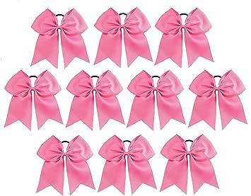 "USA 10 JUMBO 8/"" Cheer Bow Ponytail Holder Big Girls Large Hair Bows PINK FAST SH"